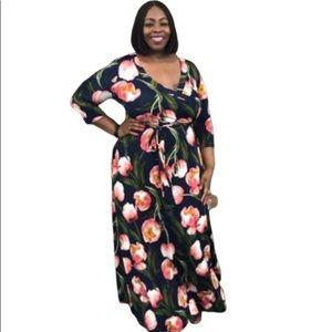 Janette Plus  Floral Empire Waist Maxi Dress